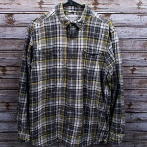 Men's Carhartt Flannel Black and Yellow Button Up